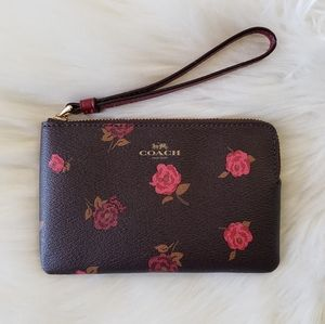 B2G1 NWT Coach Brown Rose Leather Wristlet